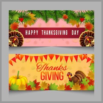 Set di banner celebrazione del ringraziamento e tacchino con zucca