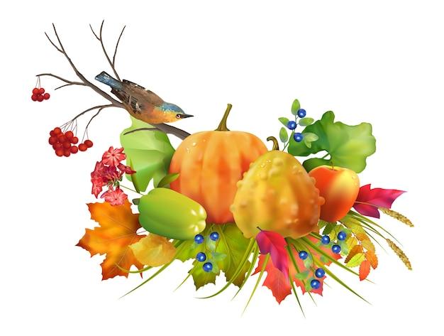 Composizione del ringraziamento con zucche, uccelli e foglie d'autunno