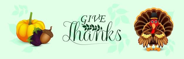 Giorno del ringraziamento foglie autunnali e tacchino uccello