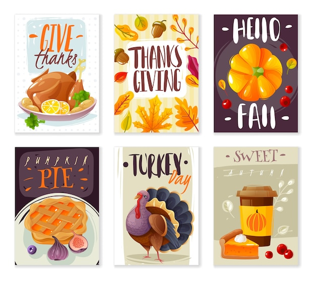 Carte del giorno del ringraziamento. set di sei poster di carta verticale giorno del ringraziamento stile cartone animato oggetti isolati tradizione di vacanza in famiglia autunno