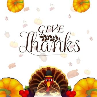 Biglietto di auguri per la celebrazione del giorno del ringraziamento con foglie autunnali e uccello tacchino