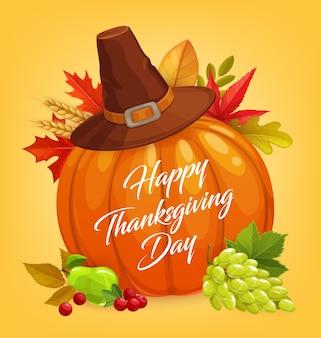 Design del giorno del ringraziamento con zucca di festa del raccolto autunnale