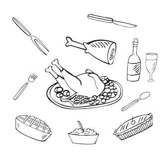 Giorno del ringraziamento doodle set illustrazione della cena di celebrazione