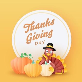 Carattere di giorno del ringraziamento sulla cornice circolare bianca con uccelli di tacchino e zucche di carta.
