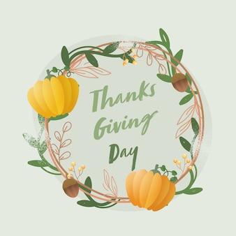 Carattere del giorno del ringraziamento con ghirlanda fatta da foglie, ghiande, bacche e zucche su sfondo verde chiaro.