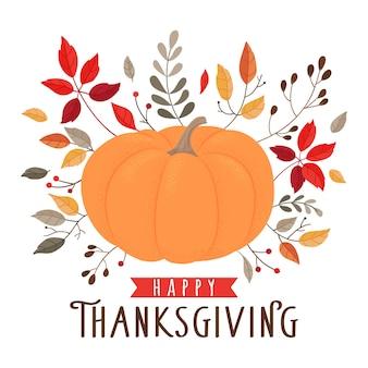 Cartolina d'auguri di giorno del ringraziamento, flyer, banner, modelli di poster. simboli disegnati a mano, zucca, foglie di autunno e scritte
