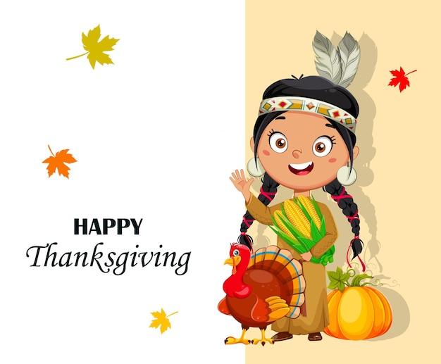 Biglietto di auguri per il giorno del ringraziamento con una ragazza indiana americana. simpatico personaggio dei cartoni animati. illustrazione vettoriale d'archivio