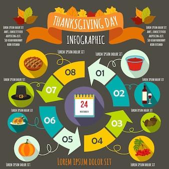 Elementi infographic di giorno del ringraziamento in stile piatto per qualsiasi disegno