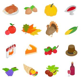 Icone isometriche 3d di giorno di ringraziamento messe
