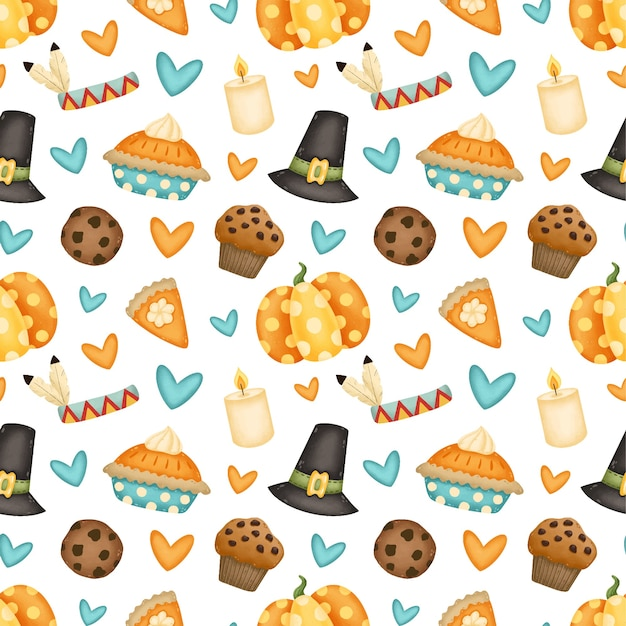 Modello senza cuciture di giorno del ringraziamento. cappello da pellegrino, zucca, torta di zucca, biscotto con gocce di cioccolato, cupcake, reticolo senza giunte della candela.