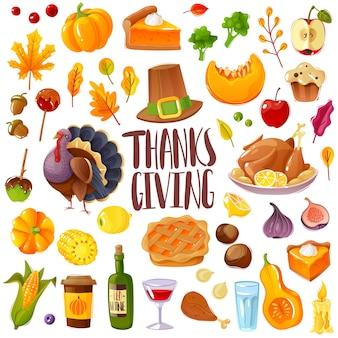 Set del giorno del ringraziamento. un grande set in stile cartone animato sul tema del ringraziamento e della festa del raccolto icone tradizionali di vacanza in famiglia oggetti isolati