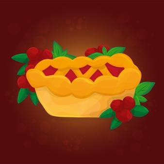 Torta tradizionale di mirtilli rossi del giorno del ringraziamento. celebrazione delle vacanze autunnali - cartolina d'auguri del ringraziamento