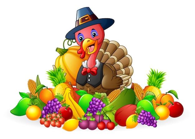 Tacchino del giorno del ringraziamento con frutta e verdura