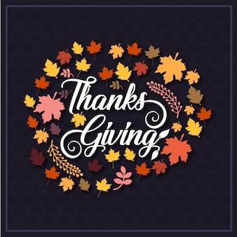 Tipografia del giorno del ringraziamento con foglie di autmn