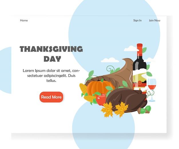Modello dell'insegna della pagina di destinazione del sito web di vettore di giorno del ringraziamento