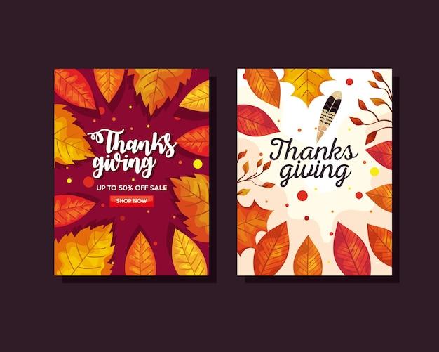 Giorno del ringraziamento con foglie di autunno nel design di banner di e-commerce, illustrazione del tema della stagione