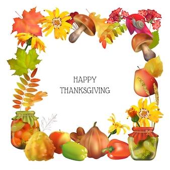 Cornice decorativa del ringraziamento con elementi naturali