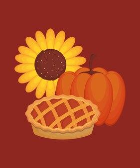 Design del ringraziamento con girasole con torta e zucca