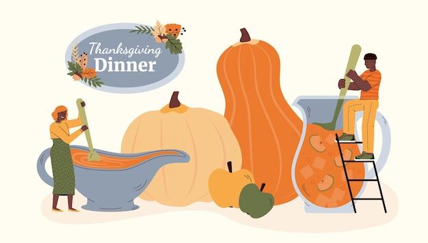 Insegna della cena del ringraziamento con l'illustrazione piana di vettore della gente del fumetto isolata