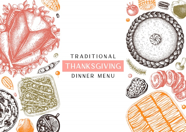 Menu della cena del ringraziamento a colori. con tacchino arrosto, verdure cotte, carne arrotolata, torte da forno e schizzi di crostate. cornice alimentare autunnale vintage. sfondo del giorno del ringraziamento.