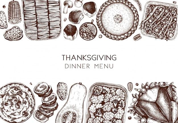 Menu della cena del ringraziamento. con tacchino arrosto, verdure cotte, carne arrotolata, torte da forno e schizzi di crostate. cornice alimentare autunnale vintage. sfondo del giorno del ringraziamento.