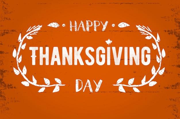 Biglietto di auguri del ringraziamento happy thanksgiving day lettering illustrazione del testo.