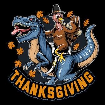 Tacchino per la festa del ringraziamento in sella a un tirannosauro rex o trex