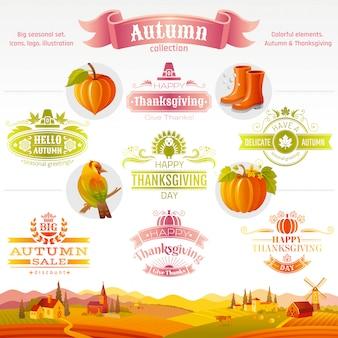 Set di icone del ringraziamento. icone e logo del fumetto di festival di logo con il fondo del paesaggio rurale.