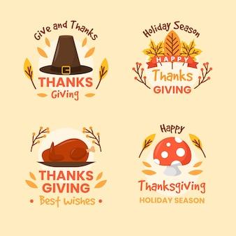 Collezione di etichette del ringraziamento in design piatto