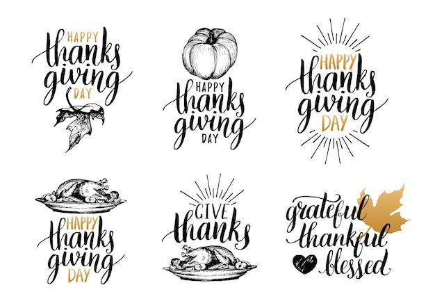 Lettering del ringraziamento per inviti o auguri festivi. set di calligrafia manoscritta