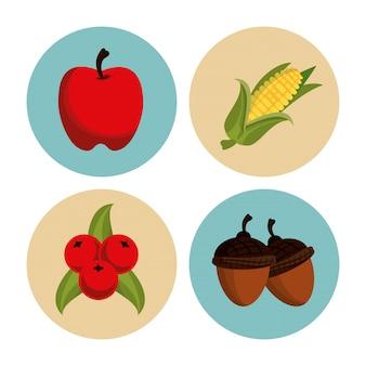 Set di icone rotonde del ringraziamento