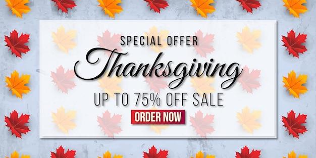 Fondo dell'insegna di vendita di ringraziamento con la foglia. offerta speciale fino al 75%.premium vector