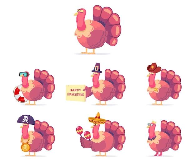Travestimento da tacchino del ringraziamento. simpatico personaggio dei cartoni animati di vettore dell'uccello in costumi divertenti insieme isolato su sfondo bianco.