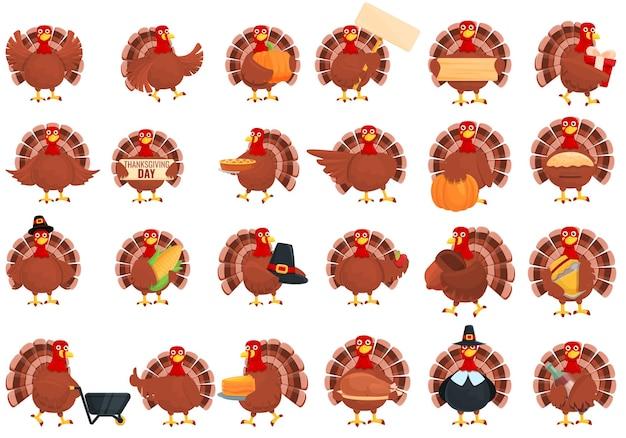 Set di icone di tacchino del ringraziamento. insieme del fumetto delle icone di vettore del tacchino di ringraziamento per il web design