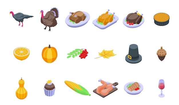 Set di tacchino del ringraziamento. insieme isometrico del tacchino del ringraziamento per il web design isolato su sfondo bianco
