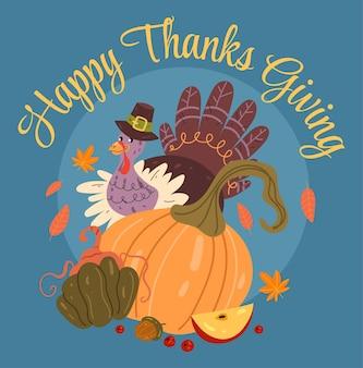 Tacchino del ringraziamento con zucca e cappello piatto graphic design illustration