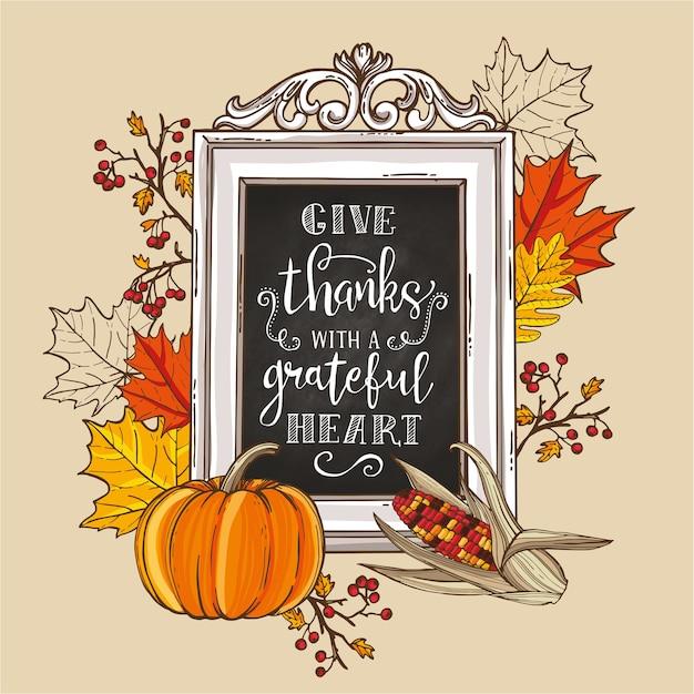 Carta d'epoca del ringraziamento. foglie di acero e quercia, rami e bacche, zucca, mais indiano, scritte