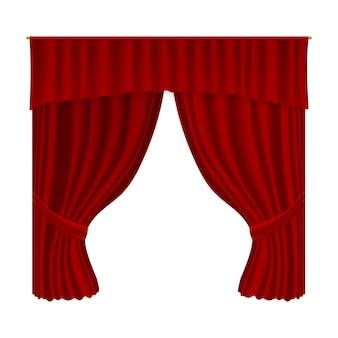 Sipario del teatro. tendaggi di decorazione tessile in velluto realistico. arredamento interno, premiere e cultura del palcoscenico del teatro rosso aperto di lusso