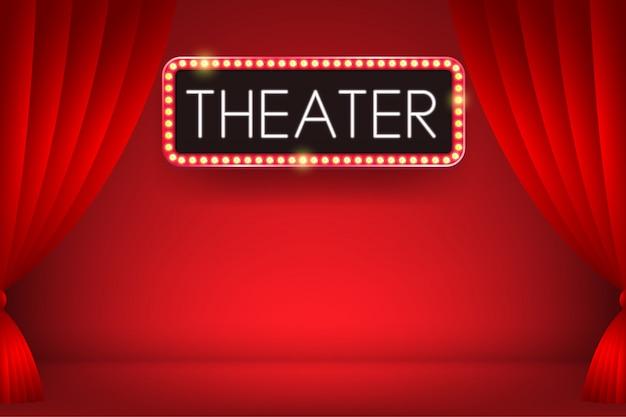Testo al neon d'ardore del teatro su un tabellone per le affissioni elettrico della lampadina con il contesto della tenda rossa. illustrazione.