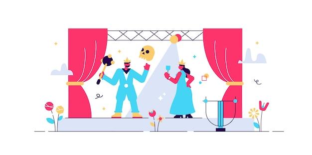 Illustrazione del teatro. t minuscolo concetto di persone performance sul palco.
