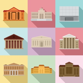 Set di icone del museo del teatro, stile piano