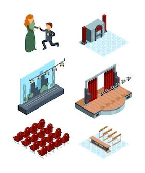Decorazione del palcoscenico teatrale. interno isometrico di teatro di opera o sala da ballo sedili attori tende rosse immagini