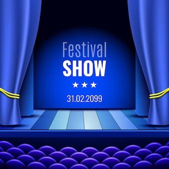 Palcoscenico teatrale con tenda. podio. poster per lo spettacolo.