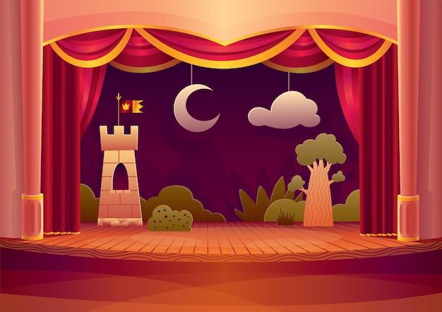 Palcoscenico teatrale con tende rosse e luce. fumetto illustrazione dell'interno del teatro