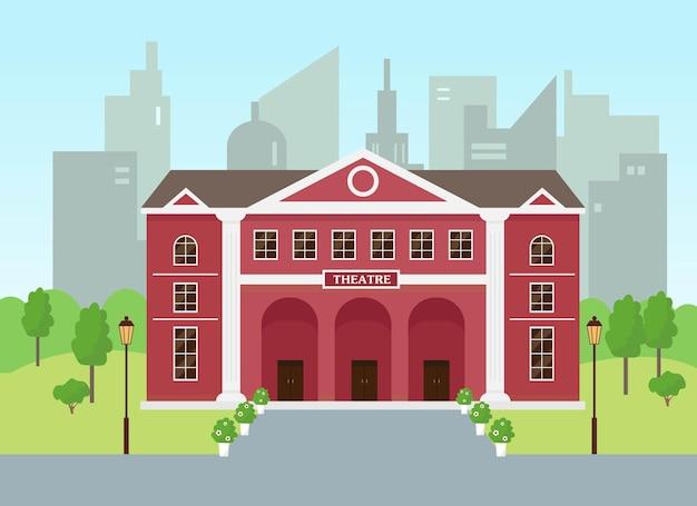 Edificio teatrale nella città moderna o teatro dell'opera e del dramma con alte colonne