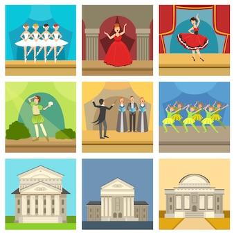 Set di edifici teatrali e spettacoli teatrali
