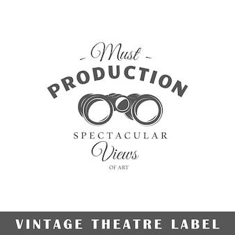 Etichetta del teatro su priorità bassa bianca. elemento. modello per logo, segnaletica, branding. illustrazione