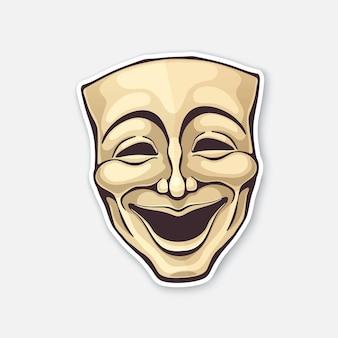 Maschera da commedia teatrale maschera da opera vintage per attore felice illustrazione vettoriale