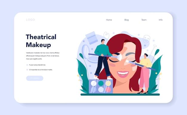 Banner web o pagina di destinazione del make up artist teatrale Vettore Premium