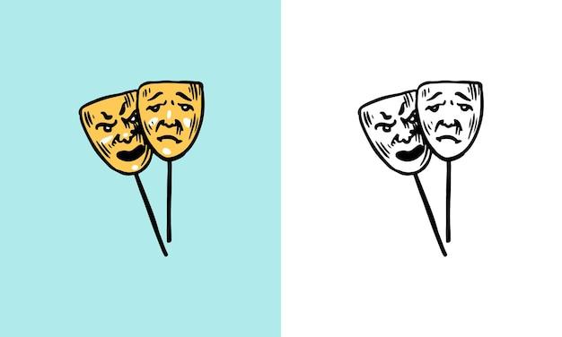Maschera teatrale cambiamento di umore concetto simbolo psicologico equilibrio emotivo disturbo bipolare sintomo Vettore Premium